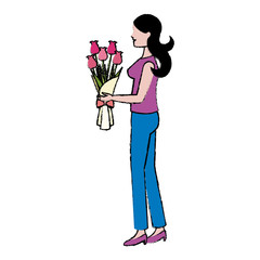 cartoon woman with bouquet flower vector illustration