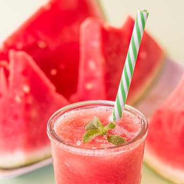 Fresh Color Juices Smoothie Fruits Watermelon Bottles On a White background, square