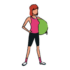 sport girl fitball athletic image vector illustration