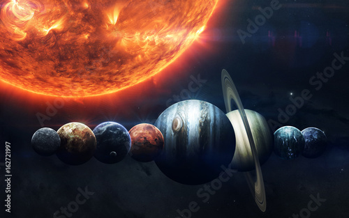 Fototapete Earth, Mars, and others. Science fiction space wallpaper, incredibly beautiful planets of solar system. Elements of this image furnished by NASA
