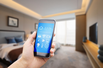 mobile phone with luxury bedroom in smart home