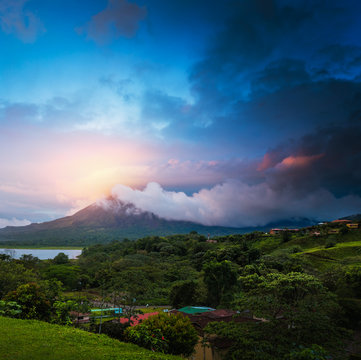 Stormy clouds over volcano of Arenal, Costa Rica