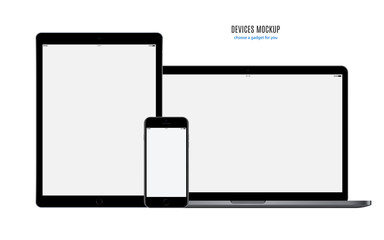 mockup devices: smartphone, tablet and laptop with blank screen isolated on white background. stock vector illustration eps10