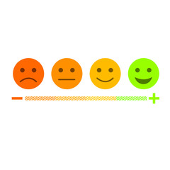 Feedback emoticon flat design icon set from negative to positive