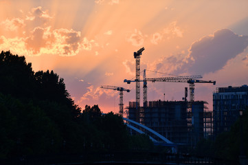 Construction cranes silhouetted against sunset sky