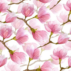 Spring watercolor magnolia seamless pattern. Hand drawn design for textile,print,wrapping paper.