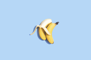 Conceptual bananas on blue background