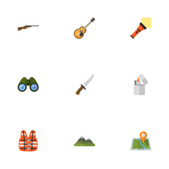 Flat Icons Lighter, Hill, Zoom And Other Vector Elements. Set Of Camping Flat Icons Symbols Also Includes Guitar, Life, Flammable Objects.