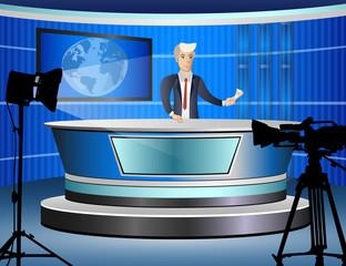 Journalist at work from tv studio
