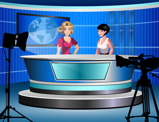 two woman reporting tv news sitting in a studio