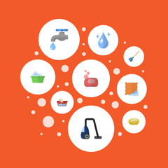 Flat Icons Laundry, Clothes Washing, Sponge And Other Vector Elements. Set Of Hygiene Flat Icons Symbols Also Includes Drop, Vacuum, Bowl Objects.