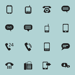 Set Of 16 Editable Device Icons. Includes Symbols Such As Mobile, Radio Talkie, Transceiver And More. Can Be Used For Web, Mobile, UI And Infographic Design.