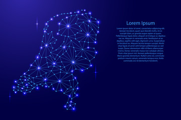 Netherlands map of polygonal mosaic lines network, rays and space stars of vector illustration.