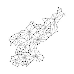 North Korea map of polygonal mosaic lines network, rays and dots vector illustration.