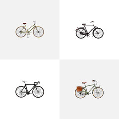 Realistic Training Vehicle, Exercise Riding, For Girl And Other Vector Elements. Set Of Bike Realistic Symbols Also Includes Girl, Bike, Woman Objects.