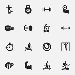 Set Of 16 Editable Active Icons. Includes Symbols Such As Executing Running, Football, Strength And More. Can Be Used For Web, Mobile, UI And Infographic Design.