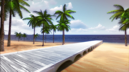 tropical palm beach with timber bridge and calm sea