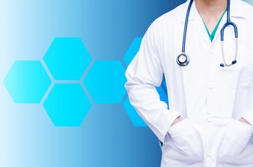 smart doctor with a stethoscope around his neck on blue color tone background and hexagonal shaped pattern background, health care and medical technology concept, copy space