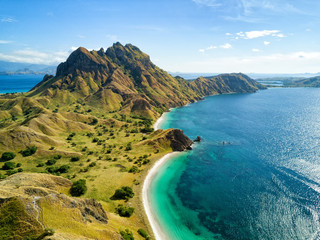 Aerial view of the northern part of Pulau Padar island in between Komodo and Rinca Islands near Labuan Bajo in Indonesia.