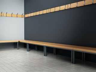 Dressing room of a gymnasium. 3D illustration