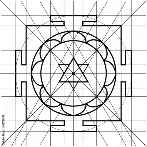Sree Yantra. Sacred Geometry coloring book\
