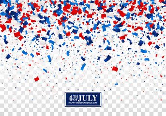 4th of July seamless festive design concept for Independence Day with scatter paper, stars in national American colors - red, white, blue. Isolated.