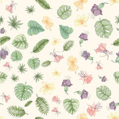 Seamless tropical palm leaves and flowers pattern