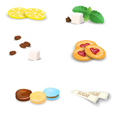 Set of sweets for tea or coffee. Small additions for hot drinks isolated on white background. Vector illustration.