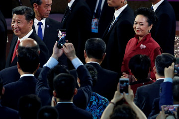 Chinese President Xi Jinping and his wife Peng Liyuan attend a variety show, as part of the celebration for the 20th anniversary of the city's handover from British to Chinese rule, in Hong Kong