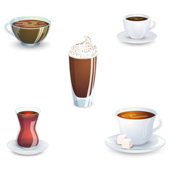 Set of delicious hot drinks coffee, tea and supplies isolated on white background. Vector illustration.