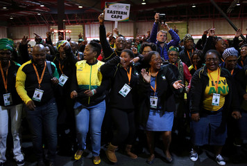 Delegates sing ahead of the opening of the ANC's 5th National Policy Conference at the Nasrec Expo Centre in Soweto