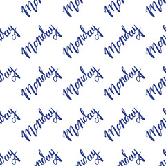 Hand drawn seamless pattern with lettering Monday,