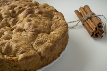 Baked apple pie Charlotte with cinnamon, according to an old grandmother's recipe