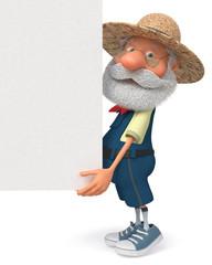 3D illustration funny farmer poster