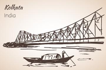Sketch of indian city Kolkata bridge. Papier Peint