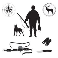 Set of sketch Huntsman with gun, duck, deer, dog, compass, bandolier, binoculars, hunting knife, isolated on white background art creative modern vector