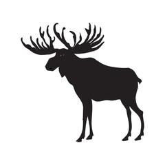 Elk sketch black isolated on white background, art creative modern vector illustration. Travel Banner. Hunter's Banner