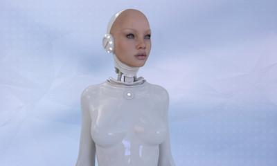Beautiful Cyborg woman in white