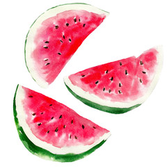 Watermelon set isolated on white background, watercolor hand drawn illustration.