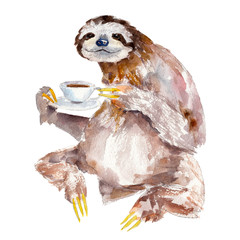 Watercolor illustration of sloth with cup of coffee, isolated on white background