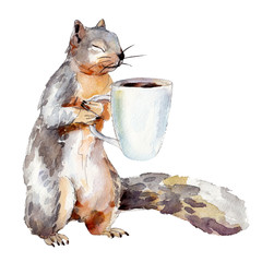 Watercolor illustration of squirrel with cup of coffee, isolated on white background
