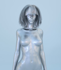 Naked Chrome Statue of Beautiful Young Woman