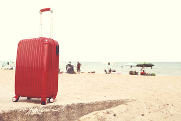 summer time and suitcase