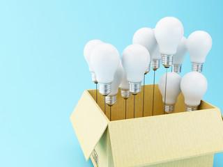 3d Light bulb set. Idea concept