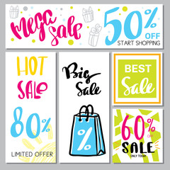 Hand drawn design promotional banner templates illustrations for website and mobile websit