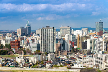 Cityscapes of Sendia, Miyagi, city aerial skyscraper view of office building , modern architecture and downtown of sendia with blue sky background. Japan, Asia