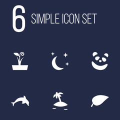 Set Of 6 Nature Icons Set.Collection Of Midnight, Foliage, Bear And Other Elements.