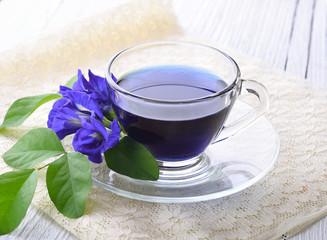 Blue pea tea on white wooden background