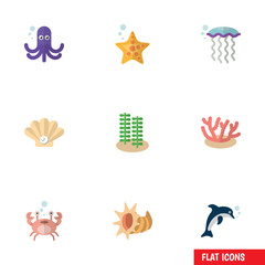 Flat Icon Sea Set Of Cancer, Playful Fish, Seashell And Other Vector Objects. Also Includes Dolphin, Squid, Pearl Elements.