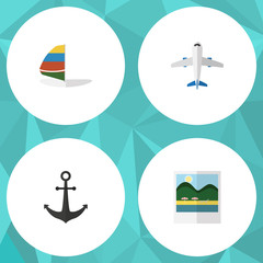 Flat Icon Season Set Of Aircraft, Ship Hook, Reminders And Other Vector Objects. Also Includes Aircraft, Reminders, Sailboard Elements.